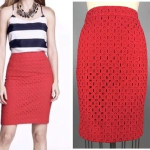 J. Crew No. 2 red pencil skirt lace